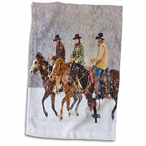 """3dRose USA, Wyoming, Shell, Cowboys and Cowgirl in Snow-US51 TEG0017-Terry Eggers Towel, 15"""" x 22"""""""