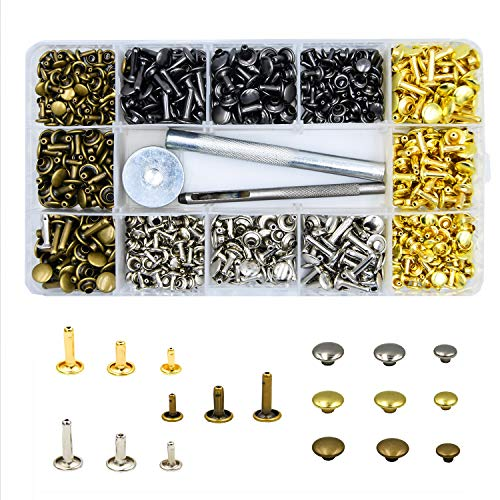240 Sets Leather Rivets, Lynda Double Cap Rivet Fasteners with 3 Pieces Setting Tool Kit for DIY and Leather Crafts/Repairs/Decoration,3 Sizes 4 ()