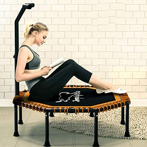 QZ 最大限の安全性のための安定したハンドルバーとロープサスペンションを備えたスポーツトランポリン、家庭用屋内スポーツトランポリン (Size : 48 inches)
