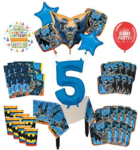 Mayflower Products Batman 5th Birthday Party Supplies and 8 Guest Balloon Decoration Kit