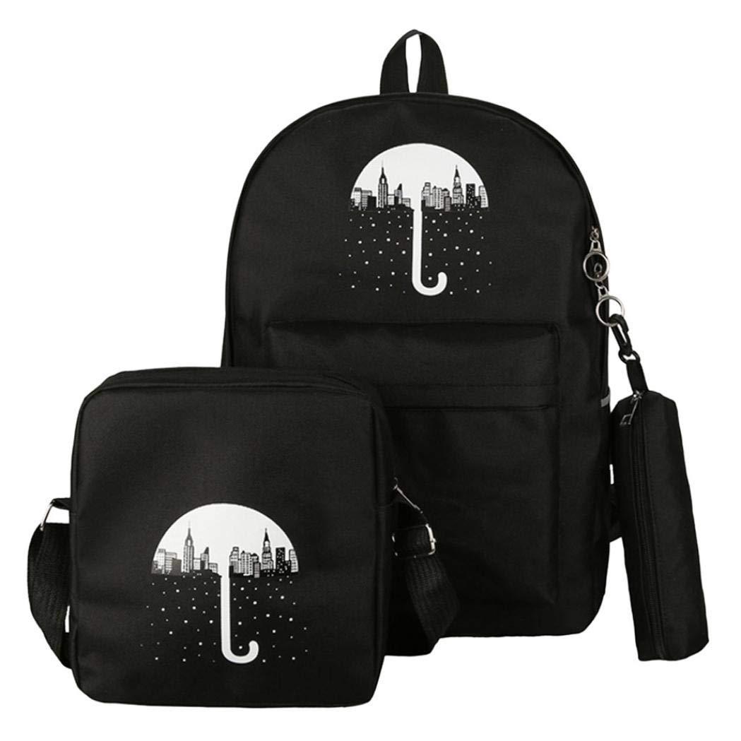 ManxiVoo 3Pcs Student Canvas Backpack +Crossbody Bag+Pen Bag Travel Packsack Knapsack Bags for Women Girls (Black)