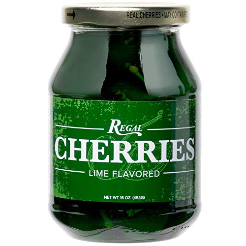 - Regal 16 oz. Green Maraschino Cherries with Stems