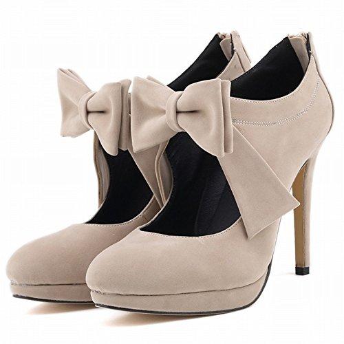 HooH Women's Ankle Boots Zipper Flannel Platform High Heel Short Boots Beige-1 F3BTFqFJYb
