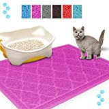 Petxt Quality Cat Litter Mat 15×23 inch - Non-slip Waterproof - Easy to Clean - Soft and Durable - No Phthalate Anti-cat Litter - Prevent Cat Litter From Coming Out Pet Rub foot Pad Pet Placemat (Pink)