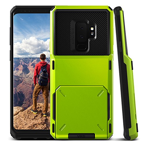 Galaxy S9 Plus Wallet Case :: VRS :: Full Body Protective Armor :: Hybrid Card Slot Holder :: ID Credit Card Travel Wallet for Samsung Galaxy S9 Plus (Damda Folder - Lime Green) by V VRS DESIGN (Image #2)