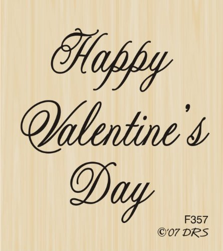 Happy Valentines Day Rubber Stamp (Medium Script Valentine's Day Rubber Stamp By DRS Designs)