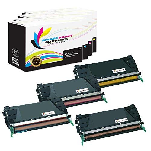 Price comparison product image Smart Print Supplies C736H1KG C736H1CG C736H1MG C736H1YG Premium 4-Pack Compatible Toner Cartridge Replacement for Lexmark C736 X736 X738 Printers (Black, Cyan, Magenta, Yellow)