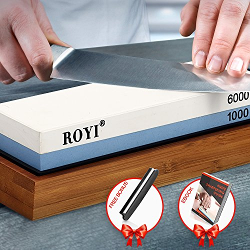 Premium Knife Sharpening Stone Kit 2 Side 1000/6000 Grit Whetstone Best Kitchen Blade Sharpener Stone Non-Slip Bamboo Base and Bonus Angle Guide by ROYI (Image #1)