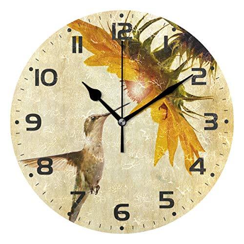 (Naanle Hummingbird Sunflower Head On Vintage Grunge Paper Round/Square/Diamond Acrylic Wall Clock Oil Painting Home Office School Decorative Creative Dual Use Clock Art)