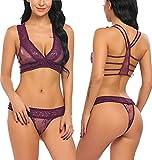 Avidlove Women Lace Lingerie Babydoll 2 Piece Sexy Bra and Panty Set Purple S