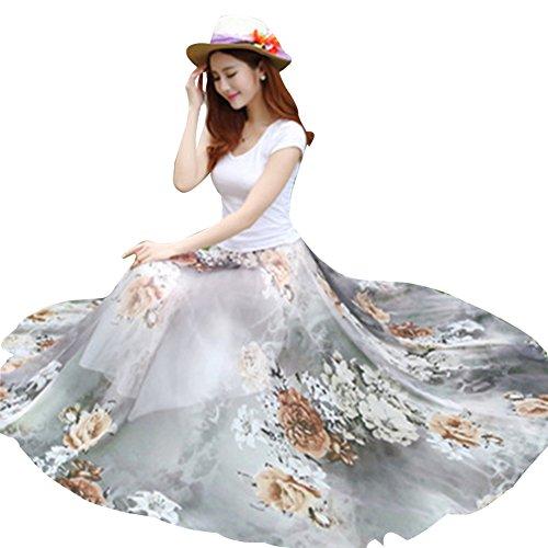 Femme Floral Jupe Longue Maxi Taille Haute en Mousseline de Soie Jupes Bohmienne 16gris