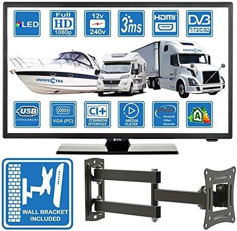 Autocaravanas Camper Barco 12 Voltios 22 Pulgada LED Full HD Digital TV DVB-T2/C/S2 TDT/Cable/Satélite TV USB de 12V 220V USB PVR & Reproductor ...