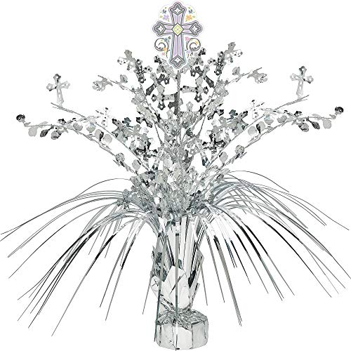 Amscan Silver Religious Spray Centerpiece, Silver Cross Accents, Weighted Base, 18