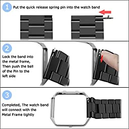 Infiland Fitbit Blaze Band, Stainless Steel Metal Replacement Strap Wrist Band for Fitbit Blaze Smart Fitness Watch, Frame Not Included- Black