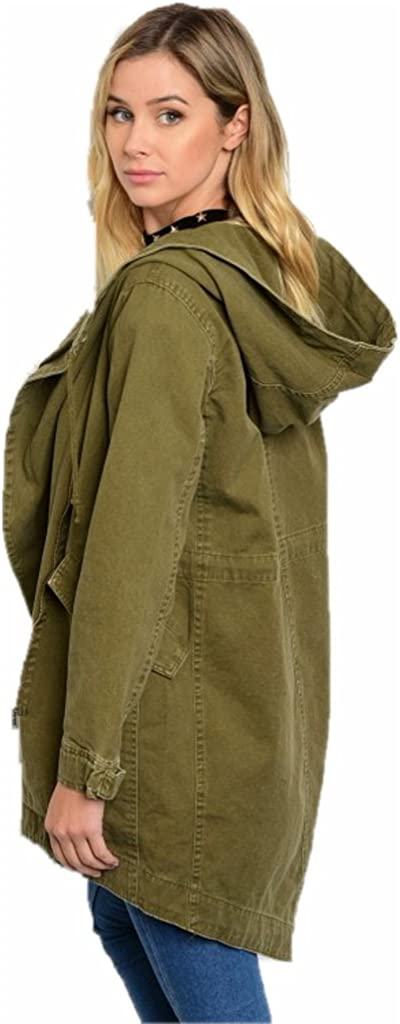Jersey Glam Jacket Utility Army Olive Green S M L Double Flap Hooded Zip Up