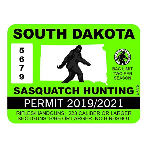 "RDW South Dakota Sasquatch Hunting Permit - Color Sticker - Decal - Die Cut - Size: 4.00"" x 3.00"""