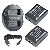 Newmowa NP-W126 NP-W126S Battery (2 pack) and Dual USB Charger for Fujifilm NP-W126 NP-W126S and Fuji FinePix HS30EXR HS33EXR HS35EXR HS50EXR X100F X-A1 X-A2 X-E1 X-E2 X-E2S X-H1 X-M1 X-Pro1 X-Pro2 X-T1 X-T2 X-T3 X-T10 X-T20 X-T100
