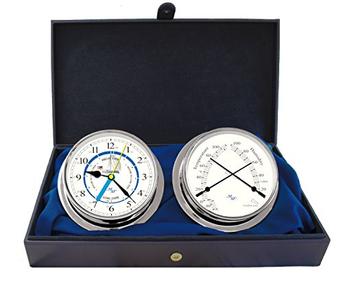 Cabin Gift Set Time & Tide Clock & Comfort Meter by Master-Mariner, Chrome finish, Ivory ship dial by Master-Mariner