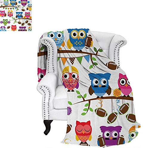 Weave Pattern Blanket Sporty Owls Cheerleader League Team Coach Football Themed Animals Cartoon Art Style Custom Design Cozy Flannel Blanket 80