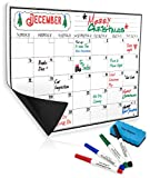 Monthly Magnetic Calendar for Refrigerator | Dry Erase White Board For Kitchen Fridge With Strong Magnet | 17