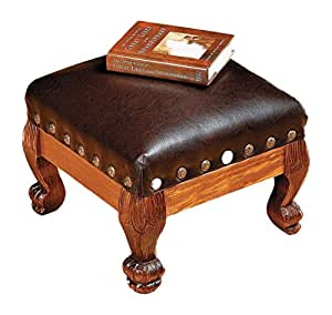 Fun Express Wood And Faux Leather Footstool