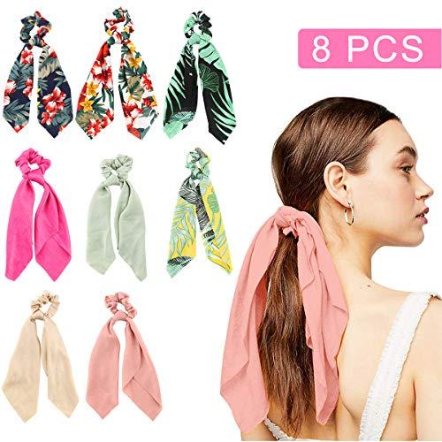 Makone 8PCS Long Silk Satin Hair Scarfs Scrunchies for Womens Hair Ponytail Holder Elastic Hair Bands Scrunchy Headband Accessories for Women -