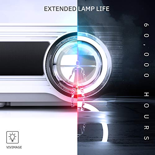 VIVIMAGE Cinemoon 580 Projector1080P Supported, 4000 Lux High Brightness Video Projector with 200'' Projection Size Includes HDMI Cable by VIVIMAGE (Image #4)