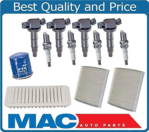 Mac Auto Parts 158068 Oil Air Cabin Filter Ignition Coils Spark Plugs for Toyota Corolla 1.8L 00-08