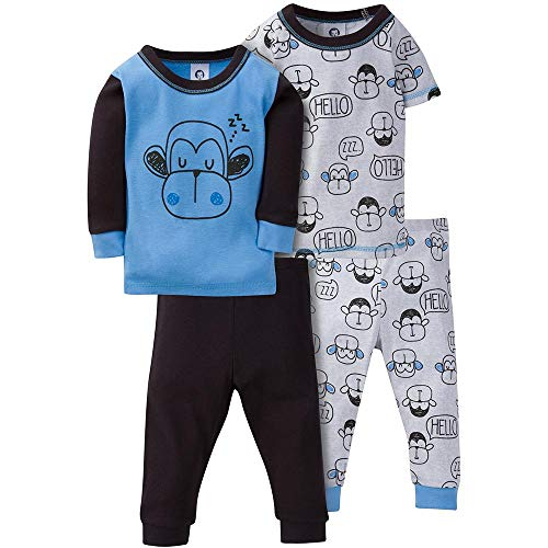 GERBER Baby Boys' 4-Piece Pajama Set, Hello Monkey, 18 Months