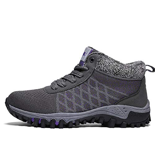 Zapatos Mujer Deportes Gris Forrada Nieve Cortas tqgold Antideslizante de Cordones Invierno Botas Botines de BFfxnwTvq