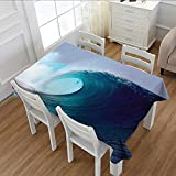 MartinDecor Ocean Decor Dinner Picnic Table Cloth Tropical Surfing Wave on a Windy Sea Indonesia Sumatra Waterproof Table Cover for Kitchen 60''x84''