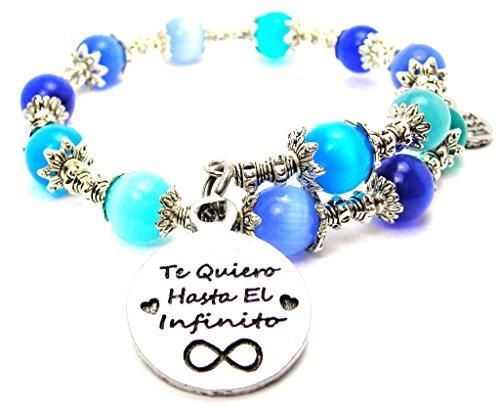 Te Quiero Hasta El Infinito I Love You to Infinity Cat's Eye Wrap Charm Bracelet Blue