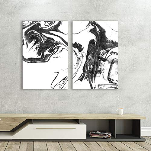 2 Panel Abstract Ink Splash on White Background x 2 Panels