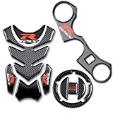 2014 suzuki gsxr 1000 stickers - D-Power Real Carbon look GSXR Gas Cap Tank Pad Triple Tree Front End Upper Top Clamp Decal Stickers Tank Pad Protector for GSXR 600 GSXR 750 GSXR 1000 K6 K7 K8 K9 L1 2006-2017(3pcs tank pad set)
