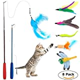 8 Pcs Cat Feather Toy, Cat Toy Wand, Teaser Wand Toy Set, Wineecy Cat Toys Interactive Retractable Wand Rod with Assorted Feather Toy for Exercising Kitten or Cat (Feather Toys)