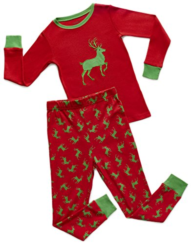 Leveret Green Reindeer 2 Piece Pajama Set 100% Cotton 6 Years