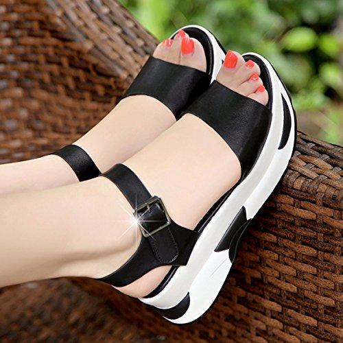 edición coreana de las JRFBA de Zapatos fondo mujer plano heppin Sandalias Black verano y qqZP6aw