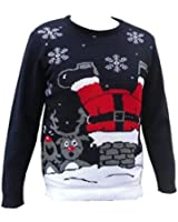 London Knitwear Gallery Christmas Funny Novelty Retro Santa Chimney Jumper