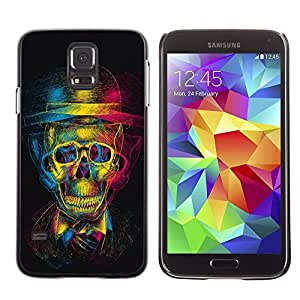 Plastic Shell Protective Case Cover || Samsung Galaxy S5 SM-G900 || Retro Skull Gentleman Theatre Art @XPTECH