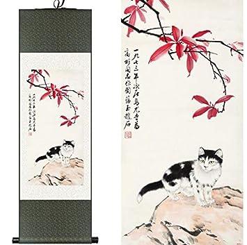 Suuyar Seda China Acuarela Flor Animales Gatos Gatito Tinta ...