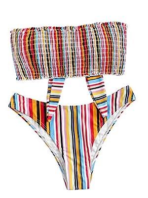 Floerns Women's Snakeskin Lettuce Trim Two Piece Bathing Suits One Shoulder Bikini Set