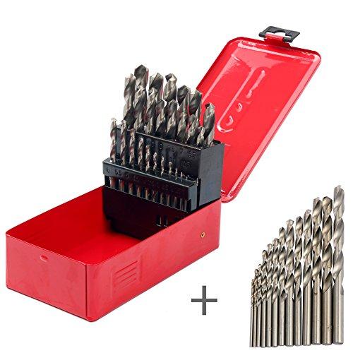 Hss Drill Bit Display (YaeTek 38-PIECE Twist High Speed Steel Drill Set Drilling Bit Metal Metric Tool 1-13mm, 118 Degree Split Point Angle, with Metal Case, HSS Drill Bit)