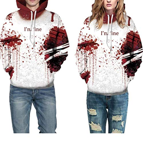 Halloween Costume Women Men Scary Skeleton Blood 3D Print Hoodie Sweatshirt Top(B,XXL/XXXL)