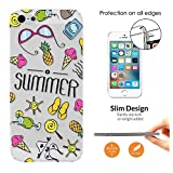 c01215 - Summer Bikini Sunglasses Flip Flops Ice cream Sun Beach Collage Design iphone SE 2016 / iphone 5 5S Fashion Trend CASE Ultra Slim Light Plastic 0.3MM All Edges Protection Case Cover-Clear