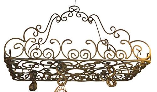 Posh Ornate French SCROLL Iron POT RACK Pan Hanging Ceiling Designer Metal - Ornate Hanging Iron