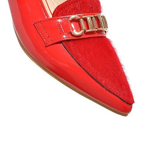 VogueZone009 Damen Weiches Material Spitz Zehe Niedriger Absatz Eingelegt Pumps Schuhe Rot