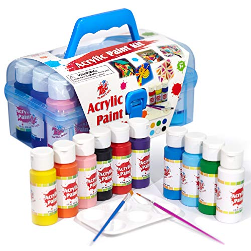 TBC The Best Crafts Acrylic Paint Set 10 x 59ml(2fl.Oz) Bottles Acrylic Paint Kit for Kids with Paint Brushes Palette Protable Acrylic Paint Ideal Art Crafts Painting Supplies for Canvas, Rock Painting, DIY Projects