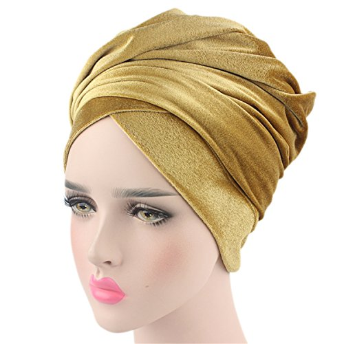 Qhome Luxury Pleated Velvet Turban Hijab Head Wrap Extra Long Tube Indian Headwrap Scarf Tie by Qhome cap
