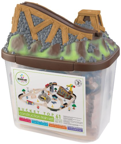 (KidKraft Bucket Top Construction Train Set, 61-Piece)