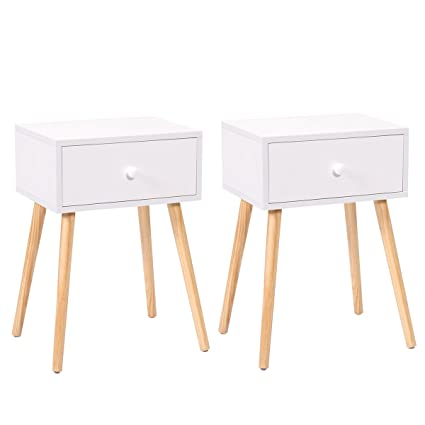 Lazymoon Furniture022 23 1 H White Mid Century Modern Side End Table Nightstand Set Of 2 Home Furniture Medium